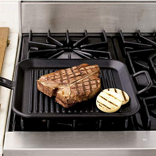 Lodge 12 Inch Square Cast Iron Grill Pan. Ribbed 12-Inch Square Cast Iron Grill Pan with Dual Handles. by Lodge (Image #1)