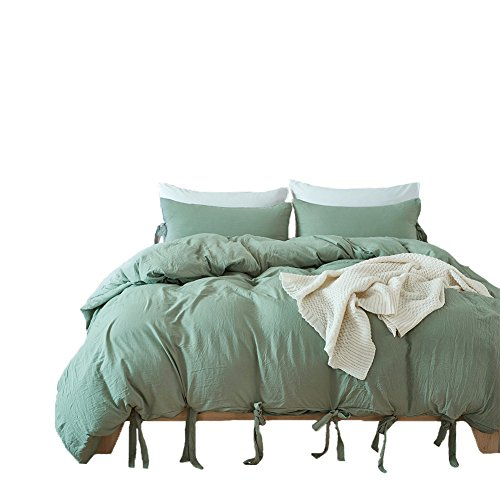 Pure Color Duvet Cover Set - Standard Size 100% Polyester Green Colored Duvet Cover and Pillowcase Queen Size 3 Pieces -