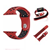 Kobwa Soft Silicone Nike and Sport Style Replacement Band For Apple Watch Series 1 and 2, (38mm red+black)