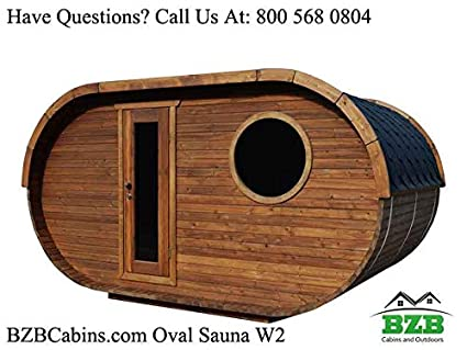 BZBCabins.com Oval Sauna Kit W2, 8 Person Outdoor Sauna With Harvia M3 Wood