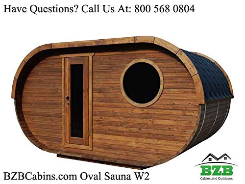 BZBCabins.com Oval Sauna Kit W2, 8 Person Outdoor Sauna with Harvia M3 Wood Burning -
