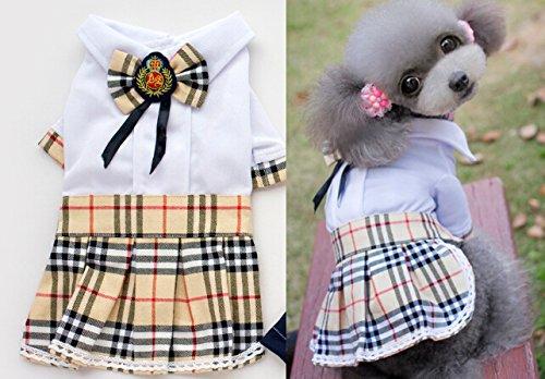 Dogloveit Cotton British Style Dress Dog Clothes For Cat Puppy,White,Medium