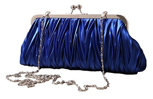 (Blue) Women Vintage Satin Pleated Evening Cocktail Wedding Party Handbag Clutch Purse w/Shoulder Chain by Zakka Republic (CLT-02-F) by Zakka Republic (Image #1)