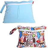 Damero 2pcs/pack Cute Travel Baby Wet and Dry Cloth Diaper Organizer Bag, Blue+Tree