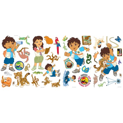Self Stick Wall Appliques - Blue Mountain Wallcoverings GAPP1827 Go Diego Go Self-Stick Wall Appliqué