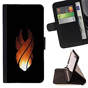 DEVIL CASE - FOR Apple Iphone 5 / 5S - Flame Crest - Style PU Leather Case Wallet Flip Stand Flap Closure Cover