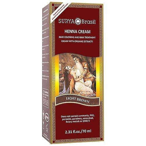 Surya Brasil Henna Hair Cream - Light Brown 70ml (Pack of 3)