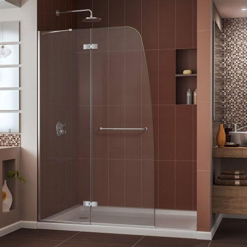 DreamLine Aqua Ultra 45 in. Width, Frameless Hinged Shower Door, 5/16'' Glass, Chrome Finish by DreamLine