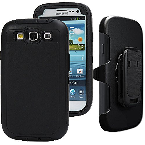 Auker S3 Clip Case,Galaxy S3 Case, Defender Series Shockproof Water Impact Resistant Anti-Slip Tough Rubber Rugged Holster Case with Belt Swivel Clip&Screen Protector for Samsung Galaxy S3 (Black) (Cheap Phone Cases For Samsung Galaxy S3)