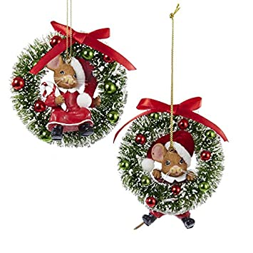 boy and girl mice on wreath christmas tree mouse ornament decorations new - Christmas Mouse Decorations