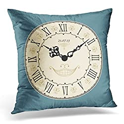 Emvency Throw Pillow Covers Blue Wonderland Vintage Clock Brown Alice Decorative Pillow Case Home Decor Square 20 x 20 Pillowcase