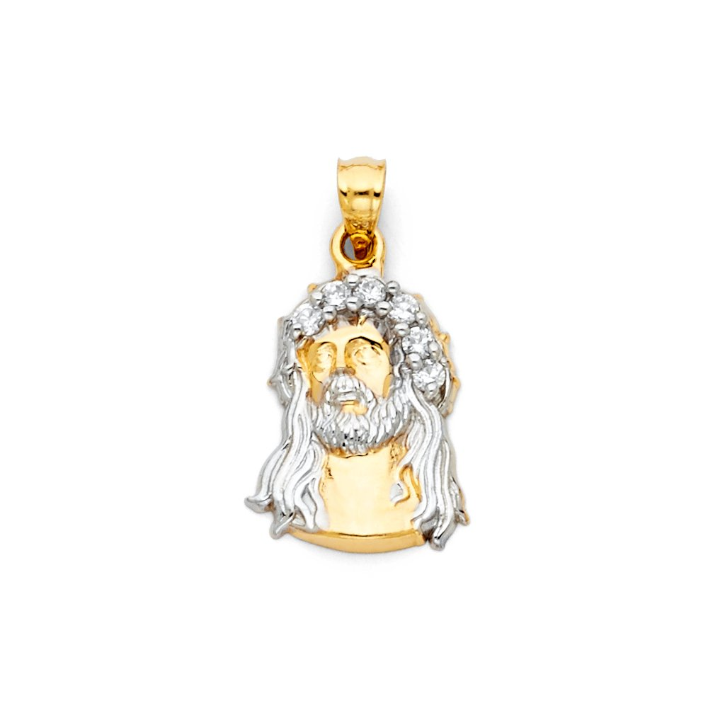Million Charms 14K Two-tone Gold with White CZ Accented Jesus Christ Head Charm Pendant 22mm x 15mm