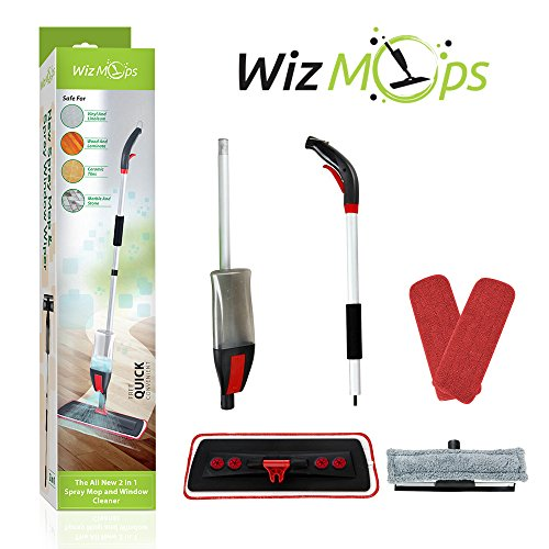2 in 1 Spray Mop Kit with Window Cleaner | 2 x Reusable Microfibre Pad with 600ml Refillable bottle | for Hardwood, Laminate, Wood, Wet and Dry Vinyl & Tiles Floor Cleaning, Glass Wipe | Safer than steam mops