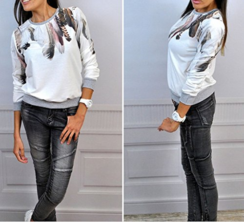 Blanc Blouse Tops Manches Fashion Femmes Pulls Imprime et Shirt T Printemps Longues New Pullover Hauts Shirts Sweat Rond Col Automne Casual Jumpers q1vBxpU