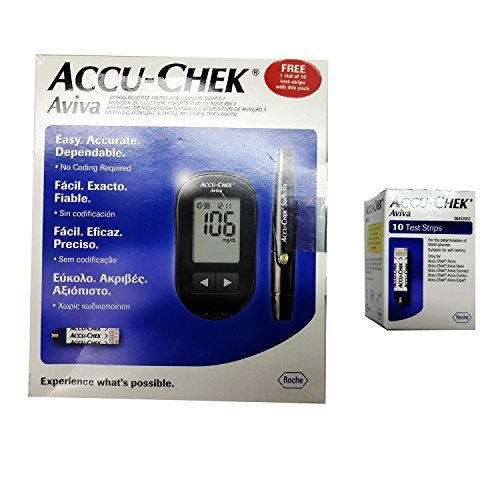 - Accu-Chek Aviva Blood Glucometer with 10 test strips, 1 Softclix lancets device, lancets, carry case and Instruction guide