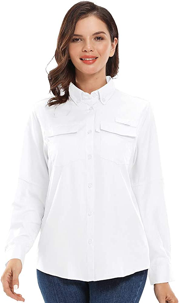 Womens Sun Shirts UPF UV Protection Long Sleeve for Hiking Safari Fishing Cooling Travel