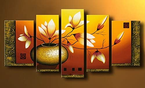Wieco Art Extra Large Golden Bottle Elegant Flowers Modern 5 Panels 100 Hand Painted Abstract Floral Oil Paintings on Stretched and Framed Canvas Wall Art Ready to Hang for Home Decor