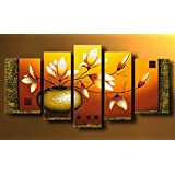 "Wieco Art 5-Piece ""Golden Bottle Elegent Flowers"" Stretched and Framed Hand-Painted Modern Oil Paintings on Canvas Wall Art Set"