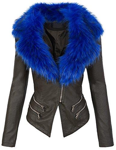 Stagione S xl Collo Biker Pelliccia Con Giacca 196 blau Khaki In Da Mezza Donna Similpelle YwqP7U