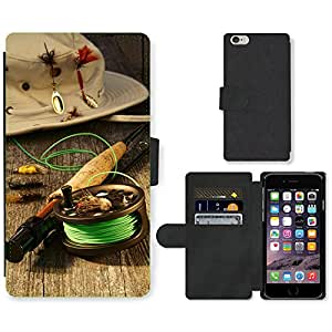 PU Cuir Flip Etui Portefeuille Coque Case Cover véritable Leather Housse Couvrir Couverture Fermeture Magnetique Silicone Support Carte Slots Protection Shell // V00002599 carrete de pesca y el sombrero // Apple iPhone 6 PLUS 5.5""