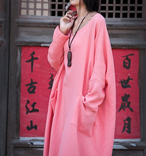 Vestido Primavera Suave Algodón para Cherry Largo Transpirable Suelto Maxi Otoño Lino Vintage Verano Túnica Mujer Sencillo de Happy Rosa Z5qw7xOw