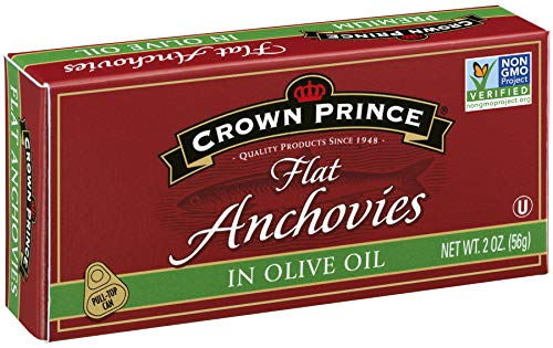 Crown Prince Flat Anchovies in Olive Oil, 2-Ounce Cans (Pack of 12) (White Anchovies)