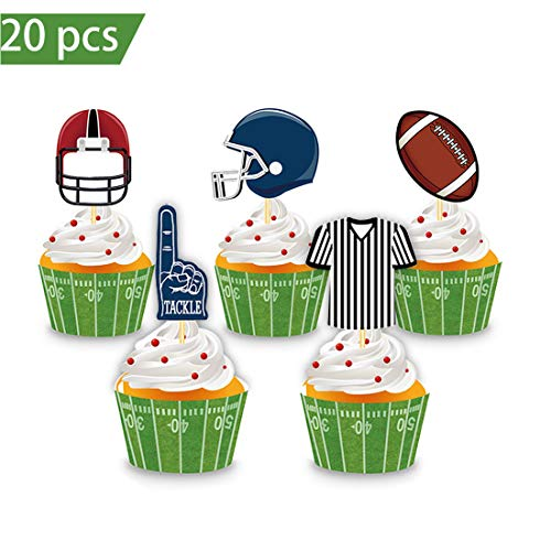 Football CupCake Wrappers and Topper