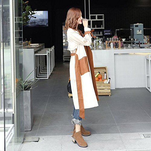 FUFU Damen Stiefel Comfort Herbst Winter PU Casual Low Heel Schwarz, Army-grün, Kamelfarbe 2.36 in Camel color