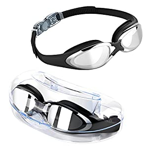 TOMSHEIR Swimming Goggles, Mirror Swim Goggles, Anti Fog UV Protection No Leaking with Protection Case for Adult Men Women Youth Girls Boys 10+Years Old, Free Ear Plugs