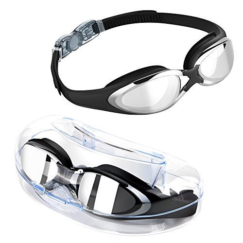 Swimming Goggles, TOMSHEIR Mirror Swim Goggles, Anti Fog UV Protection No Leaking with Protection Case for Adult Men Women Youth Girls Boys 10+years old, Free Ear Plugs