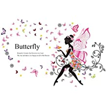 DealMux Vinyl DIY PVC Butterfly Wing Girl Room Decor Removable Self-adhesive Wall Art Sticker Decal for Girl's Bedroom Living Room