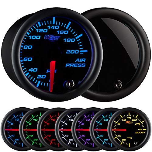 GlowShift Tinted 7 Color 200 PSI Mechanical Air Pressure Gauge - Black Dial - Smoked Lens - For Air Ride Suspension Systems - 2-1/16