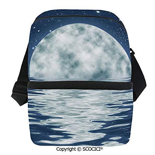 SCOCICI Reusable Insulated Grocery Bags Moon Setting Over The Sea with Waves Night Sky with Stars End of The Evening Decorative Thermal Cooler Waterproof Zipper Closure Keeps Food Hot Or -