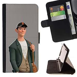 Momo Phone Case / Flip Funda de Cuero Case Cover - Muchacho Lindo Friendly Art Dibujo Moda Casual - Motorola Moto E ( 2nd Generation )