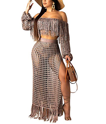 Mycherish Womens Sexy Two Piece Outfits - Off The Shoulder Fringes Tube Tops + Slit Sheer Mesh Summer Beach Skirts Brown#2 M