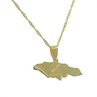 04259216e 18k Gold plated Jamaica map Flag pendant necklace Jamaican African  Jewellery 60cm chain
