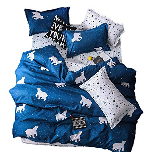 Sookie 3Pcs Blue and White Cartoon Polar Bear Bedding Set for Kids Girls and Boys 1 Duvet Cover + 2 Pillow Shams,NO Comforter and NO Sheet -Twin