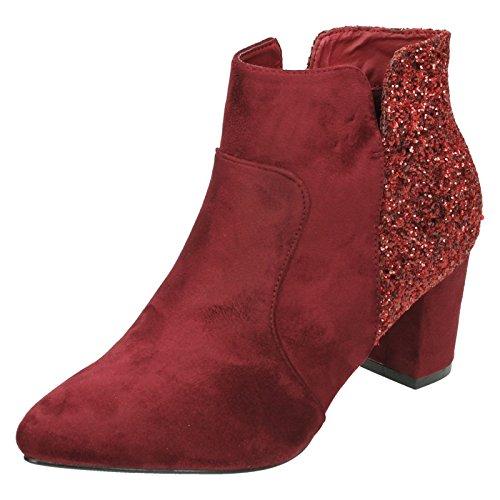 Anne Michelle Ladies Mid Heel Ankle Boots Burgundy