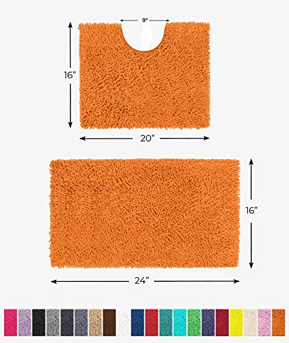 "LuxUrux Bathroom Rugs Luxury Chenille 2-Piece Bath Mat Set, Soft Plush Anti-Slip Shower Rug +Toilet Mat.1"" Microfiber Shaggy Carpet, Super Absorbent Machine Washable Bath Mat(Curved Set Mini, Orange)"