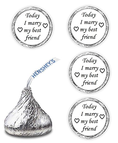 108 Today I marry my best friend wedding kisses favors decals stickers New]()