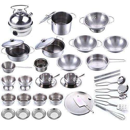 40pcs Stainless Steel Children Kitchen Toys Miniature Cooking Set