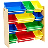 AmazonBasics Kids Toy Storage Organizer Bins - Natural/Primary