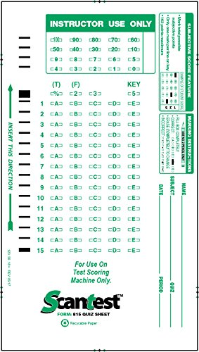 SCANTEST-815 Quiz sheet,  815-E Compatible Test Forms (500/pkg)