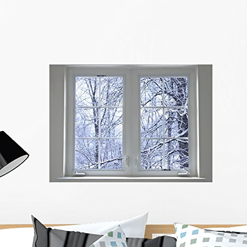 Wallmonkeys Winter Window Wall Decal Peel and Stick Graphic WM103176 (24 in W x 17 in H)