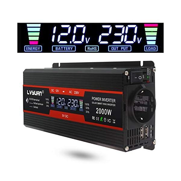 51a6hLOcOfL LVYUAN Spannungswandler 12V 230V 1000W / 2000W Wechselrichter LCD mit 2 USB