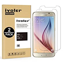 [2 Pack] Galaxy S6 Screen Protector- iVoler Premium Tempered Glass Screen Protector for Samsung Galaxy S6 - 0.2mm Ballistics Glass, 2.5D Round Edge, 9H Hardness Featuring Anti-Scratch, Anti-Fingerprint, Bubble Free- Lifetime Replacement Warranty