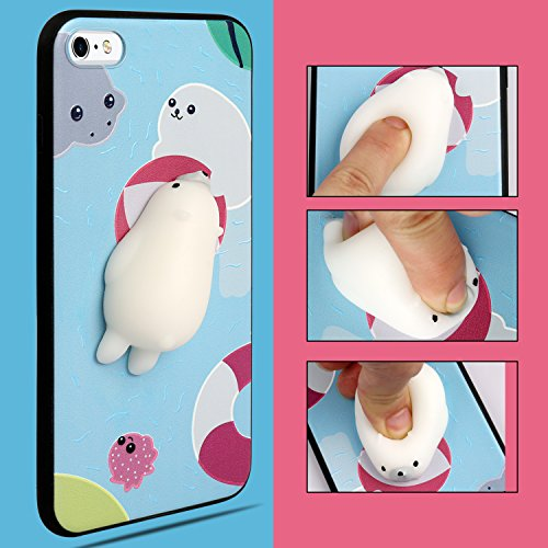 Cute Fashion Fresh Novel Squishy white seal for iPhone 6 6s 7 7s Case, Lovely 3D Soft Silicone Cartoon Animal TPU Protective Back Phone Case (seal iphone6 / 6s)