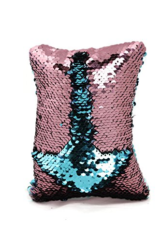 Little Monkey Fashion The Original Magic Flip Sequin Fidget Pillow | Toy for Relaxing Therapy Increase Focus for Adults and Children | Helps with stress ADHD ADD Autism | Pink and Aqua Rectangle - 10R