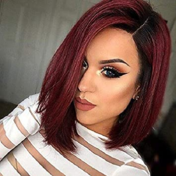 Amazon Com N T 14 Ombre Burgundy Bob Wigs Short Straight Synthetic Hair Full Wigs For Women Natural Looking Wig For Women Beauty