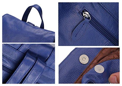 DRF Mochila de Piel para Mujer Solapa Diseño #BG-152 Azul